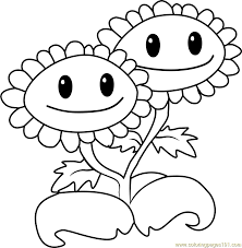Twin Sunflower Coloring Page Free Plants Vs Zombies Coloring Sunflower Coloring Page