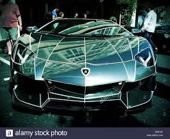 Lamborghini Aventador Chrome - custom chrome tron lamborghini aventador stock photo royalty free