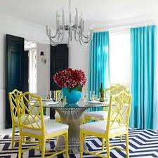 Teal And Yellow Curtains Gray Yellow Curtains Transitional Dining Room Bonesteel