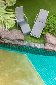 Poolside Chair Top View Relaxing Poolside Swimming Pool Chair Stock Photo