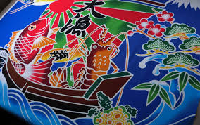 japanese fabric blue carp inspired flag fabric fisherman u0027s flag