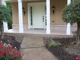 exterior fancy white porch design with squared pattern column