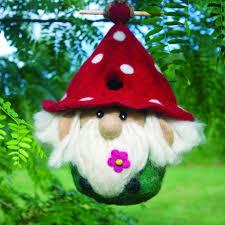 felted wool birdhouse garden gnome u2013 zee bee market llc