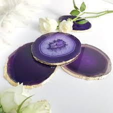 agate home decor purple agate coasters boho decor agate slice handmade with gold