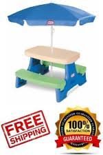 little tikes easy store jr picnic table little tikes easy junior picnic table with umbrella blue green ebay