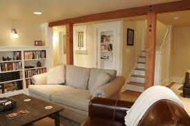 post and beam design ideas basement traditional with family room