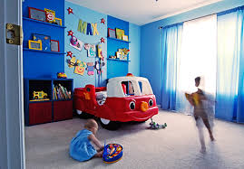 boy bedroom decorating ideas bedroom appealing very blue wall domination with two children there