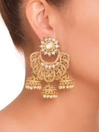 buy the three jhumka earrings by amriti at jivaana
