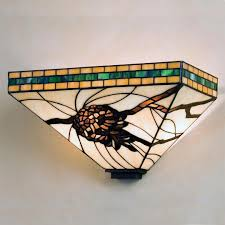 Stained Glass Wall Sconce Honey Pine Cone Stained Glass Wall Sconce Cabin Place