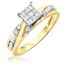 Mens Wedding Ring 2 by 1 Carat Diamond Trio Wedding Ring Set 10k Yellow Gold