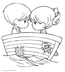 boy and at the boat love coloring page