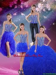 blue quinceanera dresses fashionable sweetheart beaded and ruffles royal blue detachable