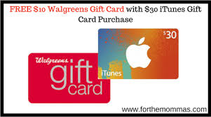gift card purchase walgreens free 10 walgreens gift card with 30 itunes gift card