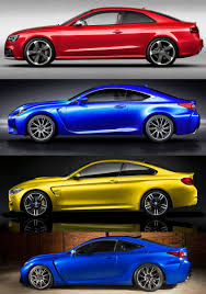 lexus vs infiniti brand 2015 supercoupe design shootout lexus rc f vs bmw m4 vs audi rs5