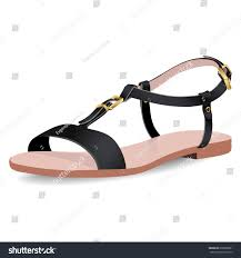 vector shoes womens black sandals on stock vector 608366081