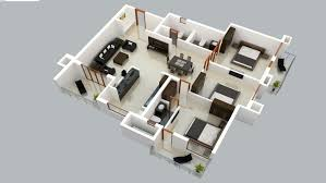 2 story 3d floor plan with nice simple bedroom house design