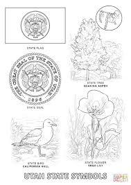 Utah State Map Utah State Symbols Coloring Page Free Printable Coloring Pages