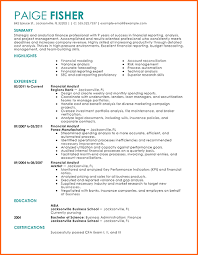 Best Finance Resume by 6 Financial Analyst Resume Budget Template Letter