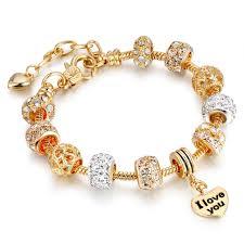 rose gold bracelet charm images Luxury crystal heart charm bracelets bangles rose gold pan jpg