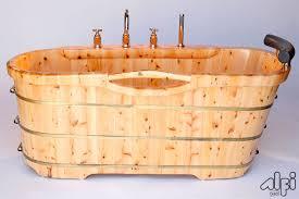Wood Bathtubs Alfi Brand Ab1136 61 U0027 U0027 Free Standing Cedar Wooden Bathtub With Tub