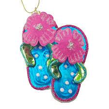hibiscus blown glass flip flops ornament all about flip flops