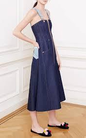 natasha zinko blue denim overall dress in blue lyst