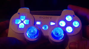 ps3 modded controller with led lights and rumble motor mod