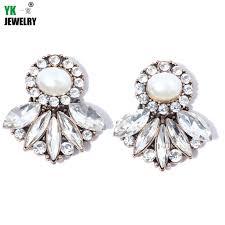 womens stud earrings aliexpress buy big oval pearl stud earrings fashion women