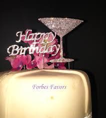 birthday martini set of 2 silver rhinestone happy birthday with martini glass cake
