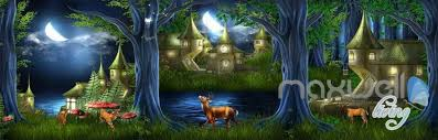3d fairy tale forest village deer entire kids room wallpaper wall 3d fairy tale forest village deer entire kids room wallpaper wall decal mural art prints idcqw