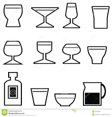 tropical cocktail silhouette collection of cocktail glasses cup of coffee and glass of beer