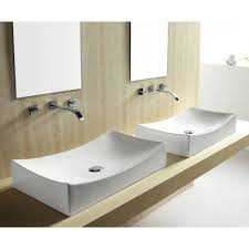 elite double layered tempered glass bowl vessel bathroom sink