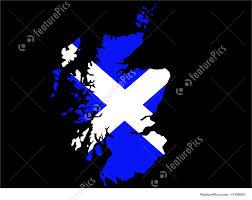 illustration of map of scotland and scottish flag