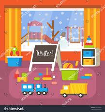 kindergarten classroom winter holidays preschool room stock vector