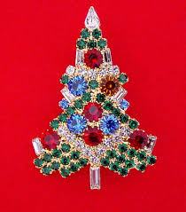 christmas tree brooches made with swarovski crystal rhinestones