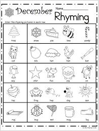 free kindergarten rhyming worksheets for december kindergarten