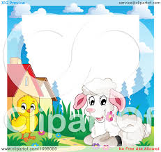 clipart easter frame with a cute white lamb and around white
