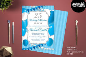 25th birthday invitation template invitation templates