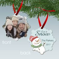 it snow personalized family photo aluminum ornament