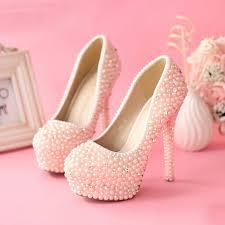 wedding shoes jeweled heels aliexpress buy sweetness pink pearls wedding shoes women