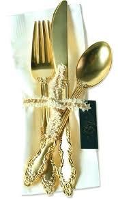 gold plastic silverware plastic gold flatware golden plastic cutlery fancy gold plastic