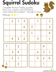 squirrel sudoku second grade math second grade and worksheets