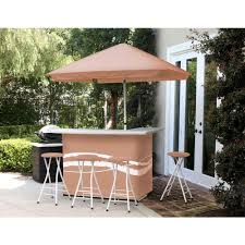 best times classic tan all weather patio bar set with 6 ft