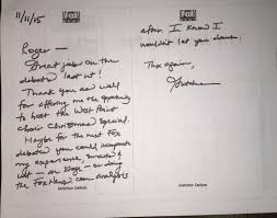 Thank You Letter Boss For The Opportunity fox releases friendly handwritten notes gretchen carlson sent to
