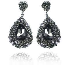black dangle earrings black diamond earing prom earings black diamonds