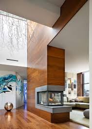 contemporary fireplace art contemporary penthouse on broadway in