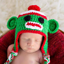 baby boy christmas cutie christmas green sock monkey baby boy or girl hat toddler