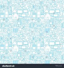 thin smart house line seamless white stock vector 352808108