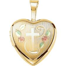 cross locket necklace pendant images Tri color heart with cross gold vermeil memorial locket necklace jpg