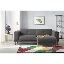 bobochic canapé avec pouf style scandinave gris foncé